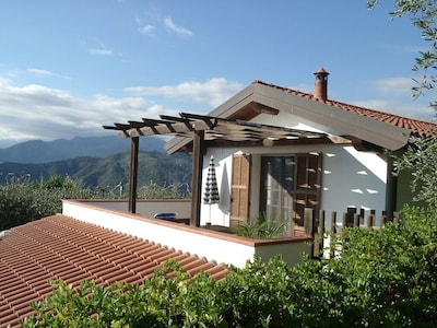 South west facing terrace with Maritime Alps view
