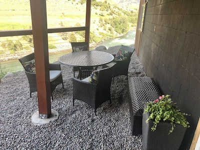 Yellowstone River View Seating for 4, relax & enjoy! A BBQ is provided.
