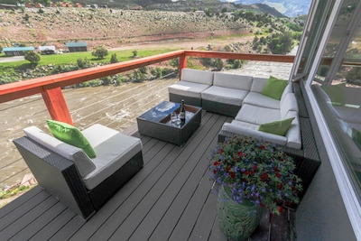 Large, comfortable seating with an amazing view into Yellowstone. BBQ included.