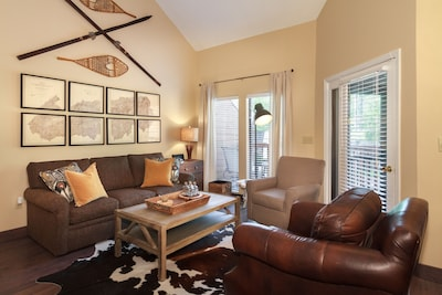 """Beautifully designed living room with a 50""""  HD Smart TV"""
