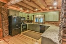 Large kitchen with bar area