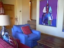 Living room with Southwest art