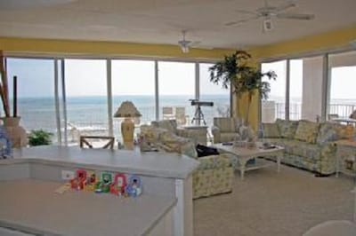 Great room.  Extra high ceilings.  Panoramic views.  Oceanfront.
