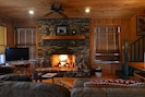 Stone fireplace in the living room