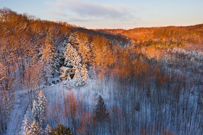 Early Winter sunrise aerial view