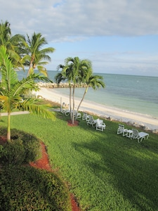 Our lawn and private beach looking East