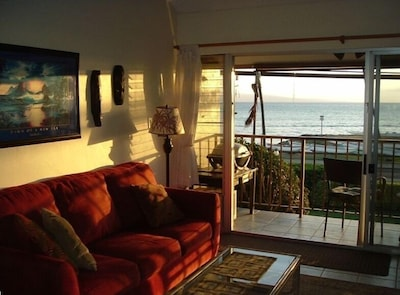 Looking out of our living room to the ocean
