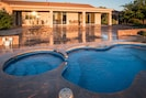Swimming pool and extended covered patio