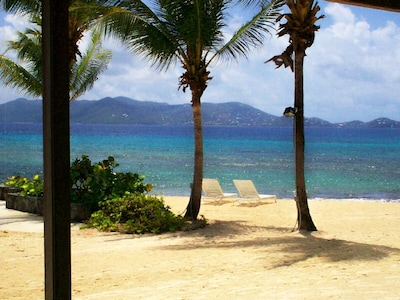 Standing on patio looking across the Caribbean to St. John