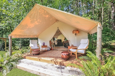 "Come ""Glamping"" in our 14' x 16' Wall Tent, surrounded by woods and nature!"