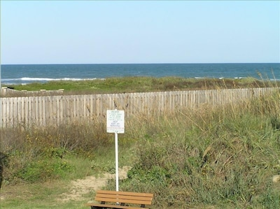 View from private balcony.  Path to beach crosses natural dune.