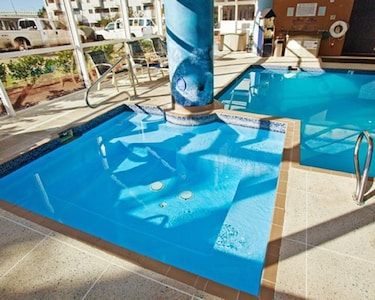 Sun in the Hot tub and indoor pool year round