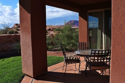 View from back patio towards The Red Mountain