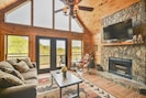 Great Room with Wood Burning Fireplace and Amazing Views!