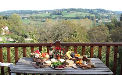 Lunch on the balcony looking over the valley and the village