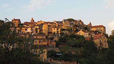 The village of Belves in the late afternoon sun, from the cottage balcony