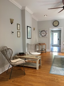 This is the dining room. The dining table is off to the right.