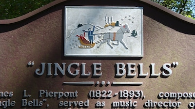"The sign in Troup Square commemorating the writing of ""Jingle Bells"" in 1857."
