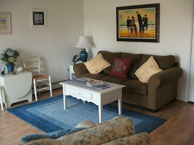 Comfortable Living Room with Queen size sofa bed and TV, VCR, DVD
