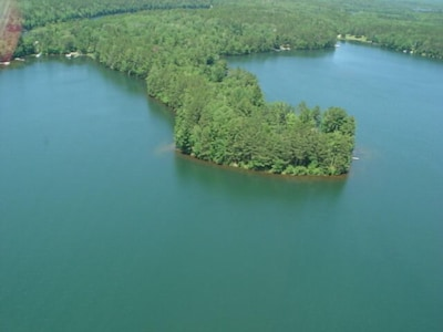 Aerial view of Big Bass Lake and peninsula.  Guesthouse is located in midsection
