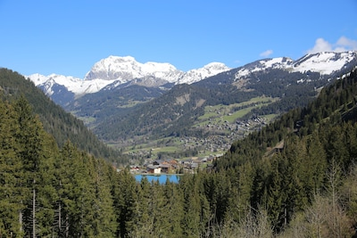 Photo taken from above Lac Vonne - view over Chatel with Cornettes de Bis