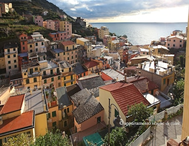 The beautiful view over sea and village from the windows of Scaglie di Mare.