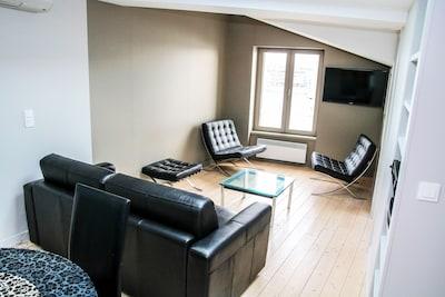 salon avec canapé lit 140 pour une ou deux personnes en plus