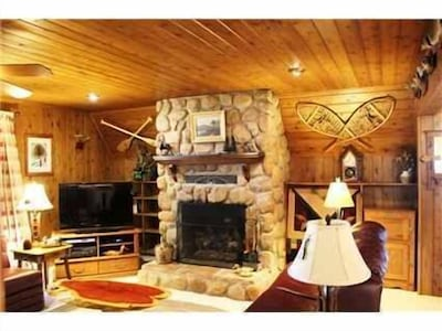 Main house living room fireplace