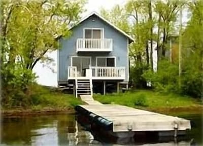Sodus Bay view of cottage with 30 Ft. dock