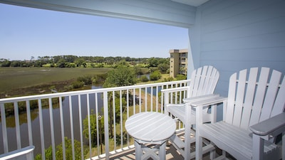 Private balcony with beautiful view of the ocean, marsh and lagoon