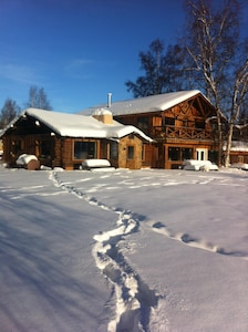 Winter is interesting. Those are moose tracks.  If this is full see our cabin.