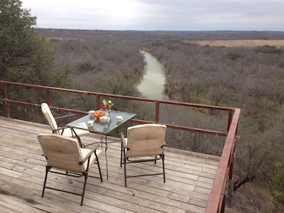 Back deck that overlooks the Clear Fork of the Brazos River