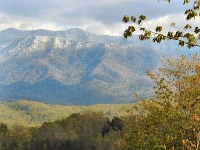 View of Mt LeConte From Upper Deck - Gatlinburg Log Cabin, this view throughout!