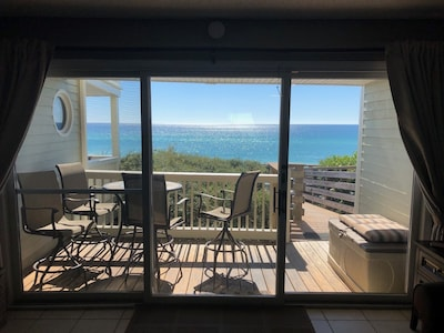 Gulf view from the inside living space. Direct boardwalk access to beach.