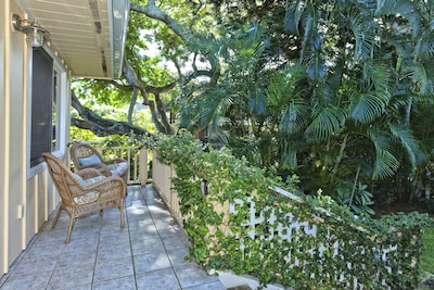 Tropical Setting of Front Porch Overlooking Monkey Pod Tree