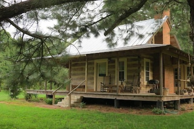 The Pines Cabin is located on a blueberry and blackberry farm.