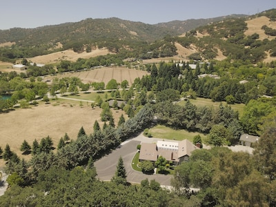 Large home with private lawn and access to vineyard and olive grove