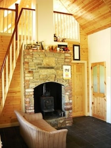 stone fire place with stove