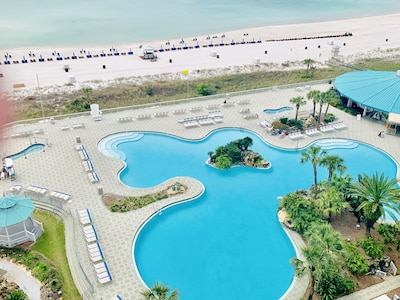 Relaxing View of the Pool and Gulf from the balcony