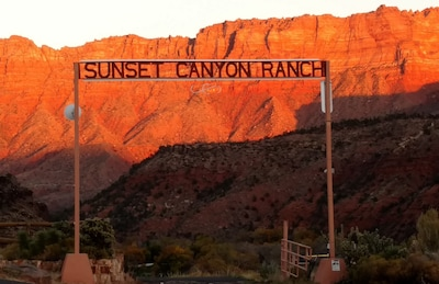 Stunning sunset view at entrance to ranch