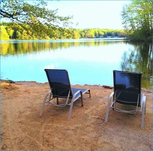 Large sandy beach. Very Private and peaceful. Great fishing right from beach!