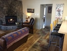 Spacious living room with gas fireplace!