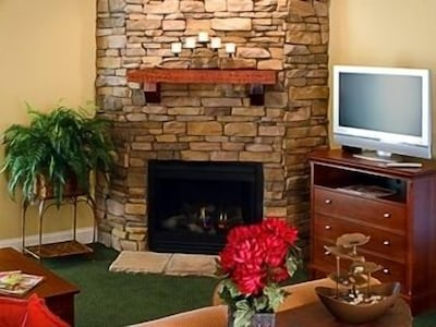 Gas Burning Fireplace and Flat Screen TV