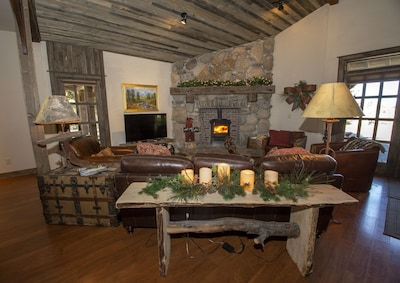 Sit and listen to the wood stove crackle or snuggle up to watch satellite TV