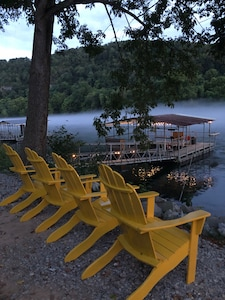 Relax at the rivers edge or fish off of the floating dock 24 hours a day.
