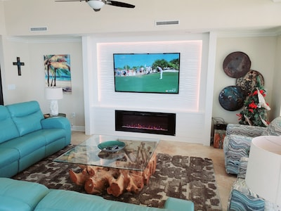 Updated state of the art built in entertainment center with electric fireplace