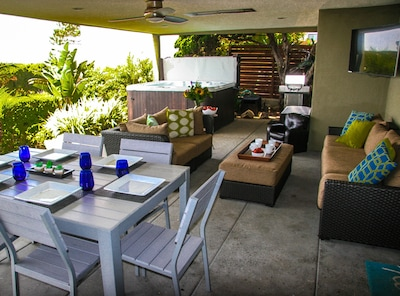 "Outdoor Living! 1000 sq feet of covered, private patio space with 50"" smart TV."