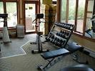 Work Out Room; weights, steam room, showers, lockers, elliptical, bike