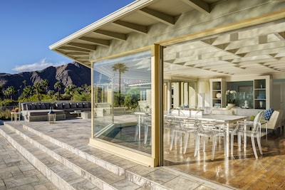 Albert Frey designed dining room blends interior and exterior spaces seamlessly.