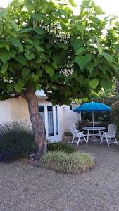 La façade de la maison avec sa terrasse et son jardin ombragé et végétalisé